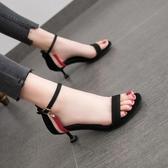 網紅5cm低跟涼鞋2020新款露趾一字扣百搭法式少女細跟高跟鞋仙女