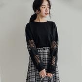 MIUSTAR 鏤空蕾絲拼接袖前短後長棉質上衣(共2色)【NH2207】預購
