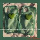 【買一送一】薄荷綠立體愛心適用iPhone13/12promax蘋果11手機殼xs/xr透明【西語99】