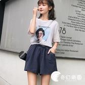 短褲-新款外穿高腰闊腿韓版潮運動棉麻短褲女夏季寬松大碼胖mm-奇幻樂園