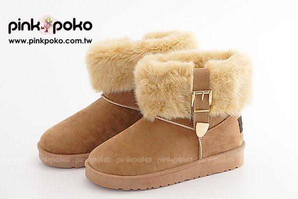雪靴 ☆PINK POKO☆ 裹踝毛邊金屬皮帶扣防滑太陽花膠底雪靴/短筒雪靴/雪地靴/休閒短靴~3色 #2564