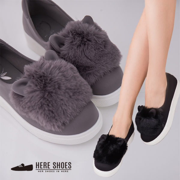 [Here Shoes]2色 日韓系嚴選 時尚太空綿3CM厚底 超萌保暖絨毛貓耳朵造型 包鞋 懶人鞋 鬆糕鞋─AA355