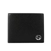 【GUCCI】金屬縫線雙G Logo牛皮雙色6卡短夾(黑色/藍色)610464 CAO2N 1040