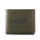 COACH大馬車壓印標誌撞色皮革多卡短夾(附獨立證件夾)(墨綠色)196204