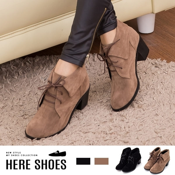 [Here Shoes]MIT台灣製 韓版時尚 絨毛 粗高跟 短靴 踝靴 2色─KC2196