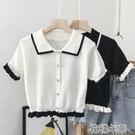 短袖襯衫 娃娃領短袖襯衫女 復古港味設計感小眾泡泡袖法式短款氣質上衣夏 2021新款
