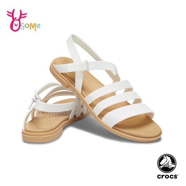 Crocs卡駱馳涼鞋 女涼鞋 露趾平底鞋型 特蘿莉度假風女士凉鞋 輕便涼鞋 休閒涼鞋 A1783#白色◆奧森