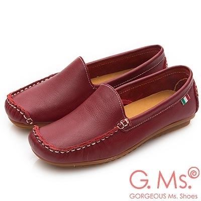 G.Ms. MIT系列-側縫線造型純手工牛皮休閒鞋-紅色