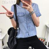 牛仔襯衫丹寧夏裝純棉女短袖 修身學生休閒百搭襯衣薄款上衣「Chic 七色堇」
