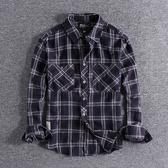 長袖襯衫 新款ins潮流復古秋冬厚實水洗格子襯衣百搭男士長袖襯衫外套