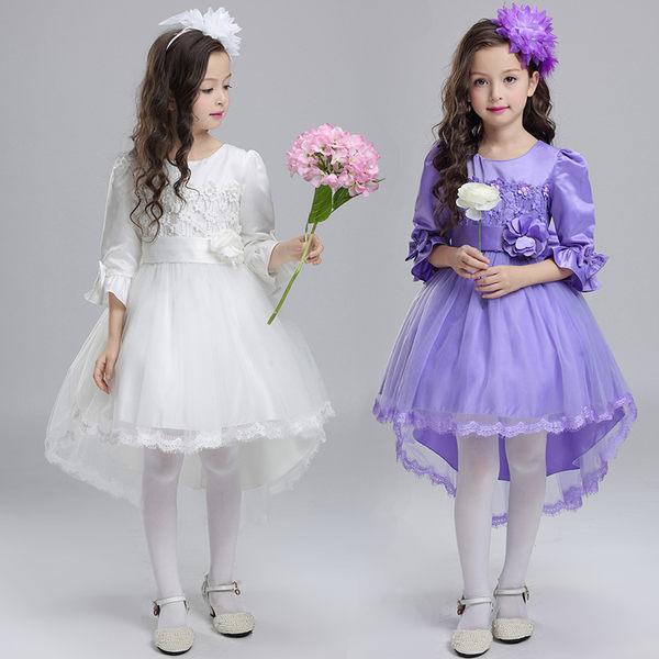 兒童禮服 公主裙 花童婚紗 蓬蓬裙 鋼琴演出服  拖尾連身裙【莎芭】