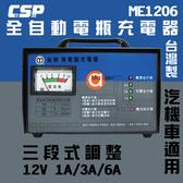 【三段式+電流表】充電器 ME1206 全自動12V 汽機車充電機