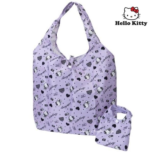 日本限定 HELLO KITTY 凱蒂貓 愛心點點滿版 折疊收納式 購物袋 / 環保袋 /手提袋 (紫色)
