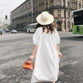 618好康鉅惠夏裝新款白色襯衫裙女寬鬆顯瘦連身裙