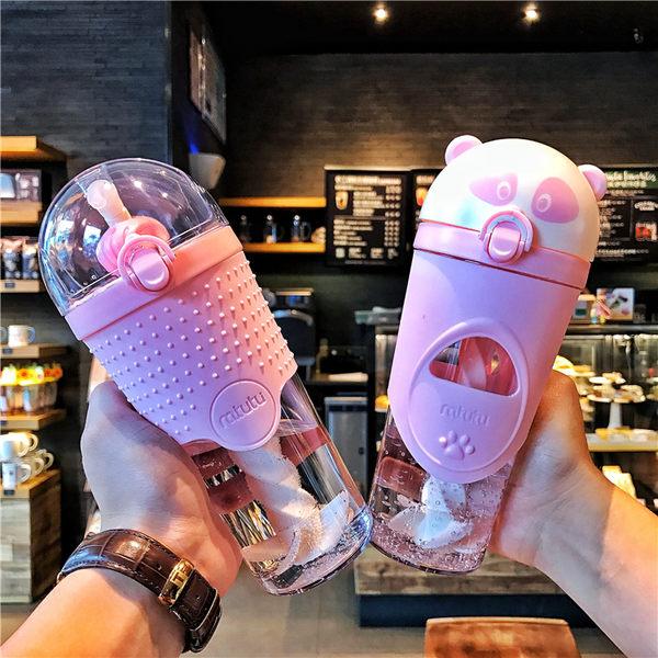 韓國吸管杯手動攪拌杯男女學生情侶懶人奶昔塑料杯隨手水杯子水瓶 卡布奇诺