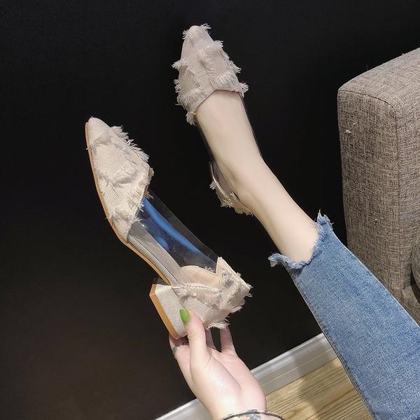 女士高更鞋 單鞋女2020春季新款韓版百搭低跟透明尖頭粗跟仙女的高跟鞋子【快速出貨】