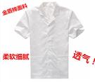 白色食堂飯店餐廳廚師工作制服翻領西裝短袖男女夏季柔軟細膩透氣