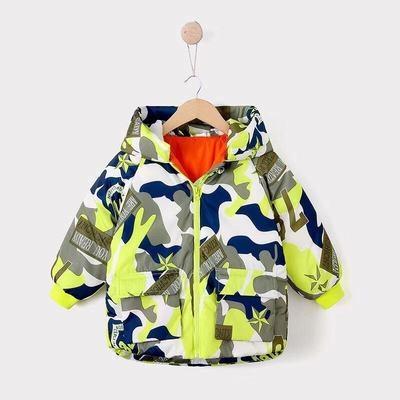 男Baby男童外套帥氣大迷彩羽絨外套連帽外套黃綠色現貨90%絨10%羽歐美品質