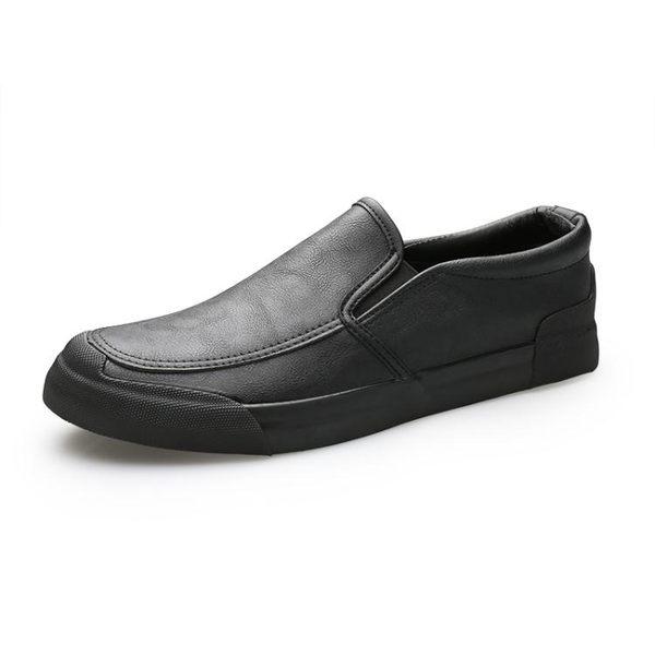 男休閒鞋 懶人鞋 秋冬一腳蹬懶人休閒皮鞋男韓版樂福鞋潮流男鞋平底鞋《印象精品》q2083
