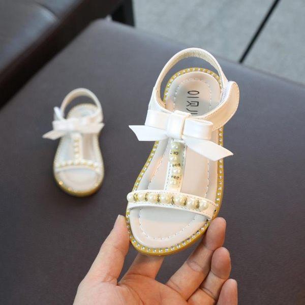 涼鞋夏季新款露趾女童涼鞋公主鞋蝴蝶結中大童珍珠兒童防滑軟底推薦(全館滿1000元減120)