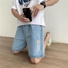 小雛菊潮牌牛仔短褲男潮流寬松直筒五分褲2021新款夏季休閑七分褲