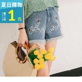OrangeBear《BA3296》花朵刺繡圖案破損造型抽鬚下襬牛仔短褲