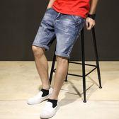 男短褲休閒褲子 薄款個性牛仔短褲水洗磨破洞復古中褲牛仔褲5五分褲《印象精品》t1415