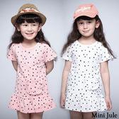 童裝 洋裝 點點單口袋傘襬短袖洋裝(共2色) Azio Kids 美國派 童裝