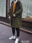 新款男士風衣秋季中長款外套韓版寬鬆潮流冬季軍大衣披風情侶 青山市集