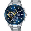 ALBA 雅柏 年輕世代計時手錶-藍x銀/44mm VD57-X145B(AM3663X1)