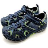 《7+1童鞋》MERRELL MLC53375   戶外  多功能  防水止滑  護趾涼鞋  D187  藍色