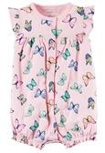 Carter's 連身衣 包屁衣  粉紅色蝴蝶圖案短袖連身衣 6M