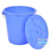 垃圾桶 塑膠垃圾桶大號工業圓髮帶蓋家用大垃圾桶環衛戶外加厚餐廳酒店T 2色