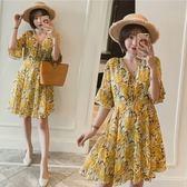 實拍XL-5XL孕婦裙禮服洋裝23865夏季新款大碼女裝印花雪紡胖mm顯瘦連身裙皇潮天下