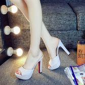 YAHOO618◮2019新款涼拖鞋女夏時尚12cm超高跟拖鞋粗跟防水臺一字拖魚嘴女鞋 韓趣優品☌