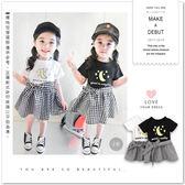 韓版星星月亮格紋綁帶假兩件裙裝 甜美 休閒 連身裙 女童【哎北比童裝】