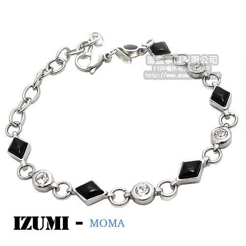 MOMA-【IZUMI】系列白鋼鍺磁手鍊-黑瑪瑙IS-007B