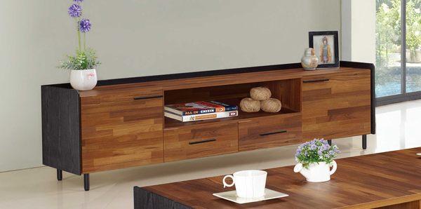 【森可家居】畢卡索5.8尺集層柚木雙色長櫃 7JF219-1 電視櫃 木紋質感 北歐工業風