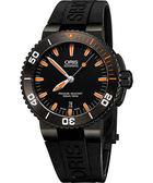 ORIS 豪利時 Aquis 時間之海300米潛水機械手錶-黑x橘/43mm 0173376534259-0742634GEB