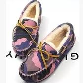豆豆鞋 平底羊毛絨-時尚船型迷彩保暖真皮女休閒鞋3色72o29[巴黎精品]