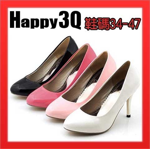 時尚優雅基本款必備百搭好穿尖頭高跟漆皮高跟鞋-白/黑/紅/粉34-47【AAA0998】預購