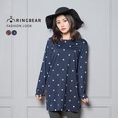 長袖上衣--質感生活簡約可愛圓點圖案優雅圓領長版上衣(咖.藍L-4L)-A300眼圈熊中大尺碼