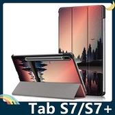 三星 Tab S7/S7+ 11吋/12.4吋 彩繪多折保護套 側翻皮套 卡通塗鴉 三折支架 超薄簡約 平板套 保護殼