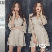 短袖洋裝 正韓氣質V領喇叭袖系帶大裙擺連身裙 艾米潮品館