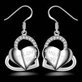 925純銀耳環(耳針式)-雙心造型生日七夕情人節禮物女飾品73ao73[巴黎精品]