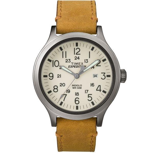 【TIMEX】天美時EXPEDITION遠征戶外系列腕錶 (米白面/褐色帶 TXT4B06500)
