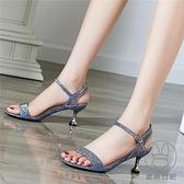 涼鞋細跟夏季百搭中跟配裙子一字帶法式小高跟鞋【貼身日記】