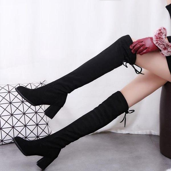 長筒靴女過膝靴子秋冬季新款韓版百搭高筒長靴潮加絨高跟女靴   LannaS