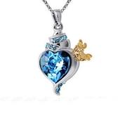 項鍊 925純銀 水晶墜飾-海洋之心生日情人節禮物女飾品銀飾73aj591【時尚巴黎】