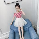 跨年趴踢購女童夏裝2018新款洋氣時髦套裝衣服兒童短袖兩件套裙子小女孩童裝